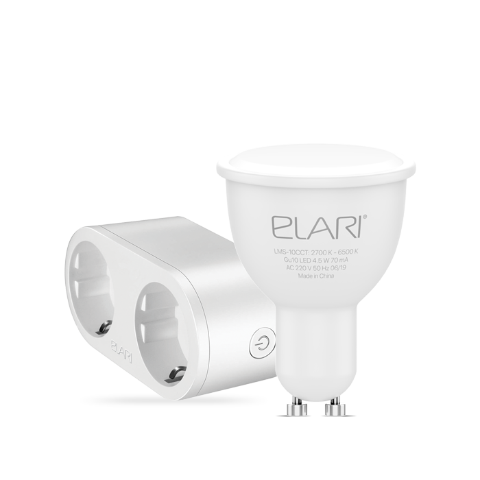 Лампа светодиодная ELARI SmartLED Warm&Cold GU10 + умная розетка ELARI Dual Smart Socket фото